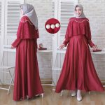 gamis kondangan simple cape brokat marian