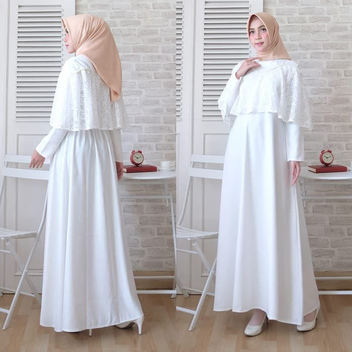 Baju kondangan simple cape brokat marian putih