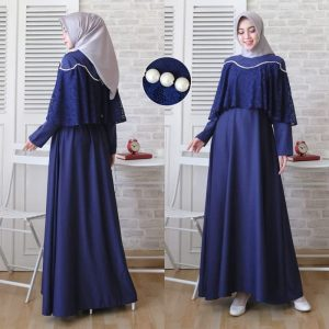 Busana kondangan simple cape brokat marian navy