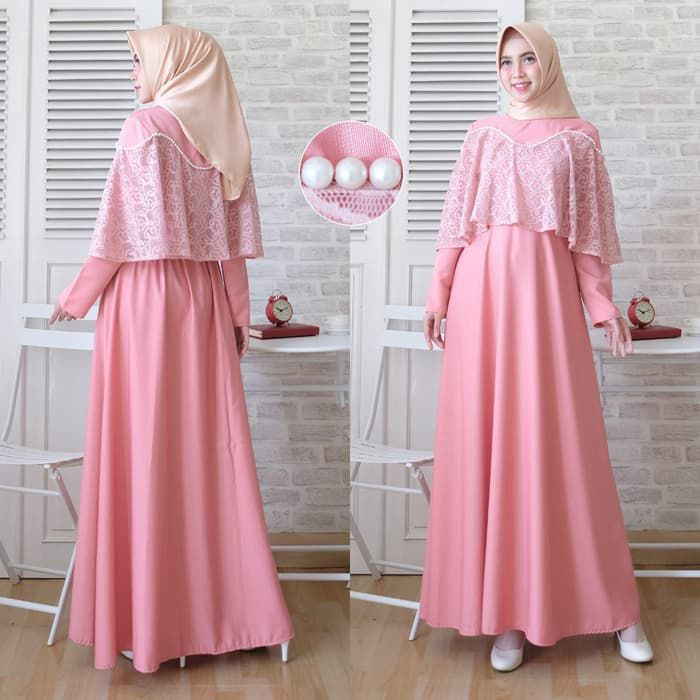 Gamis kondangan simple cape brokat marian pink