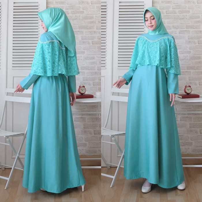 Gamis kondangan simple cape brokat marian tosca