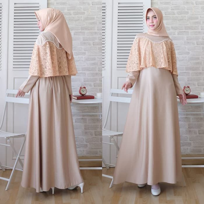 Model gamis kondangan simple brokat marian coklat