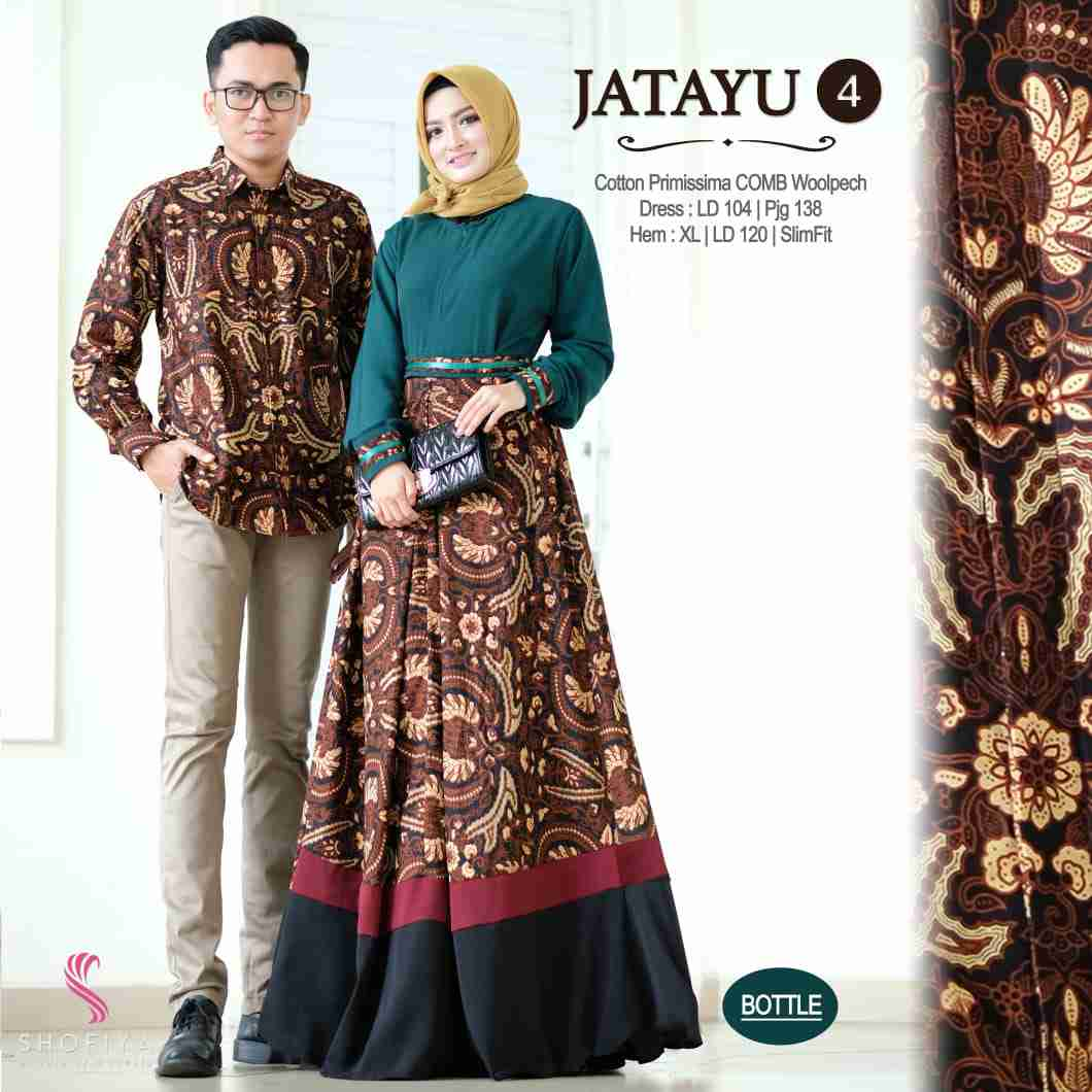 Couple batik terbaru 2019 warna hijau botol jatayu vol 4