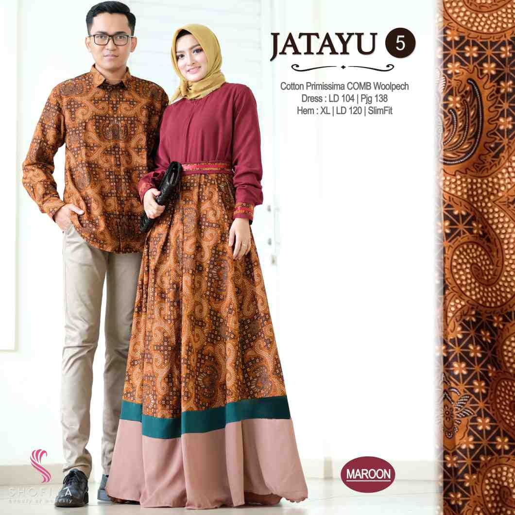 Couple batik terbaru 2019 warna maroon jatayu vol 5