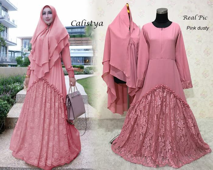 Gamis brokat corneli calistya pink dusty