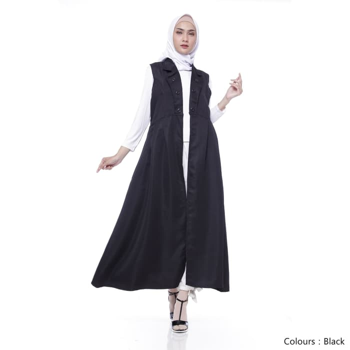 Gamis remaja pixie long outter black