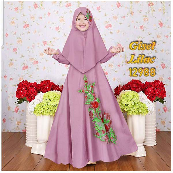 Gamis anak gisel lilac