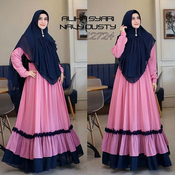 Gamis alika navy dusty