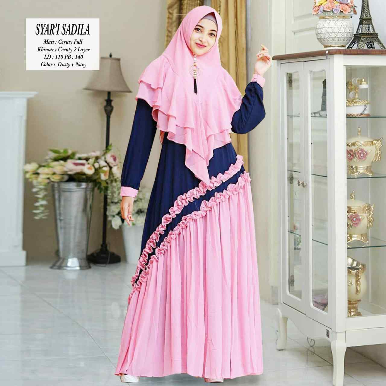 Gamis modern sadila dusty navy