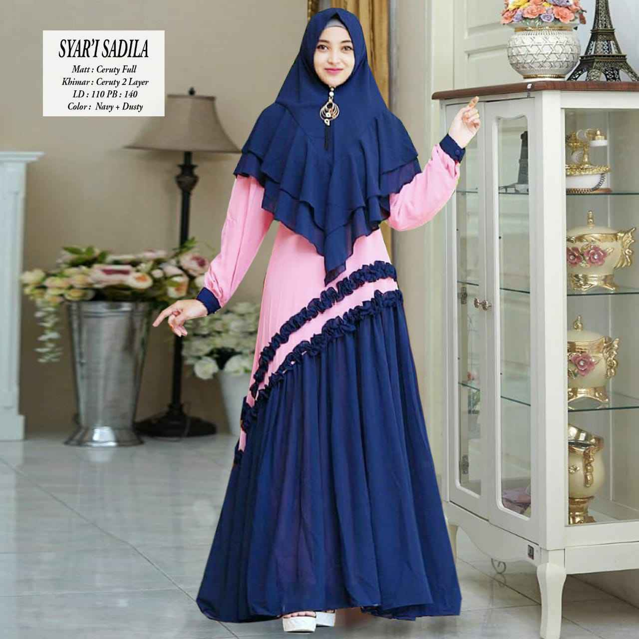 Gamis modern sadila navy dusty