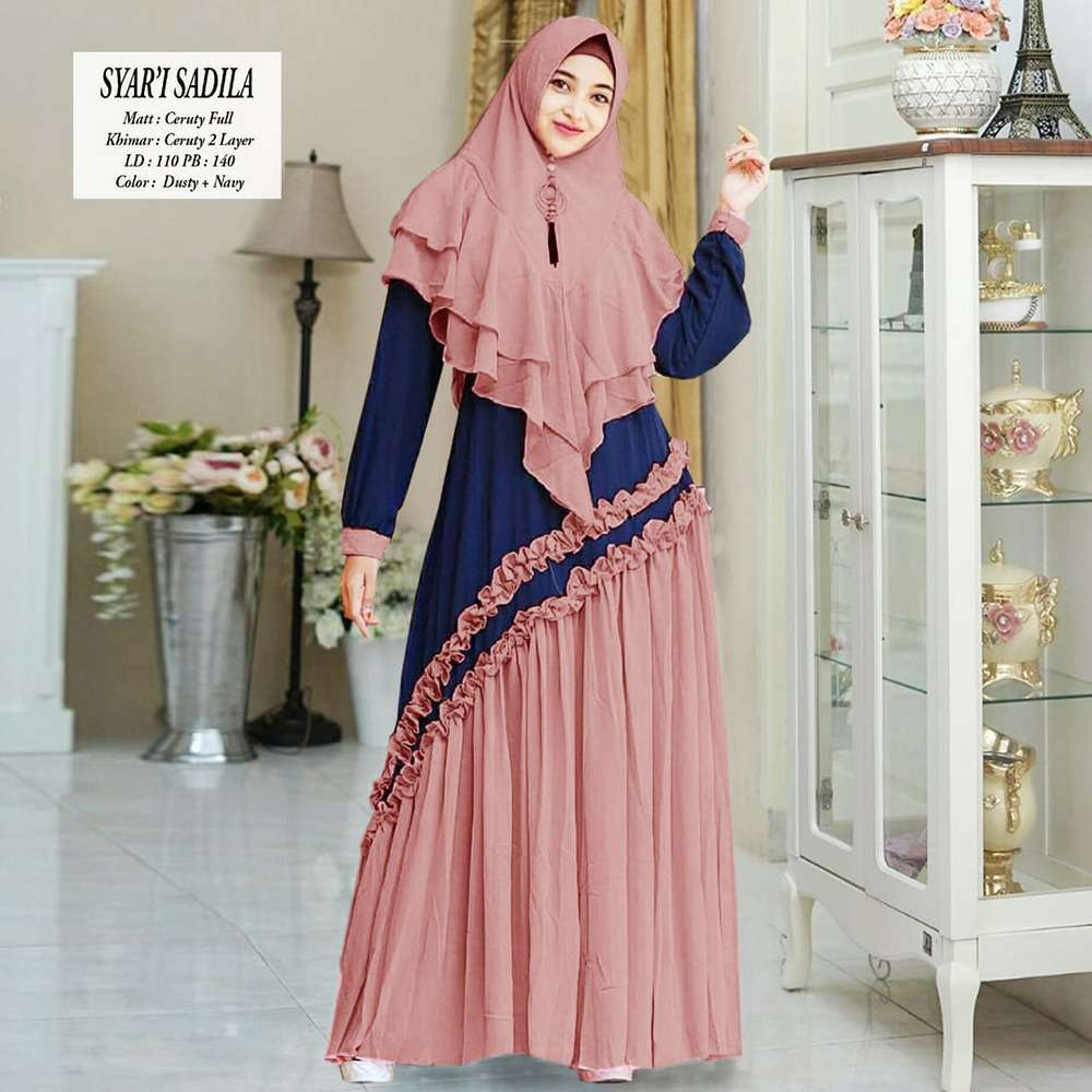 Gamis modern sadila new dusty navy