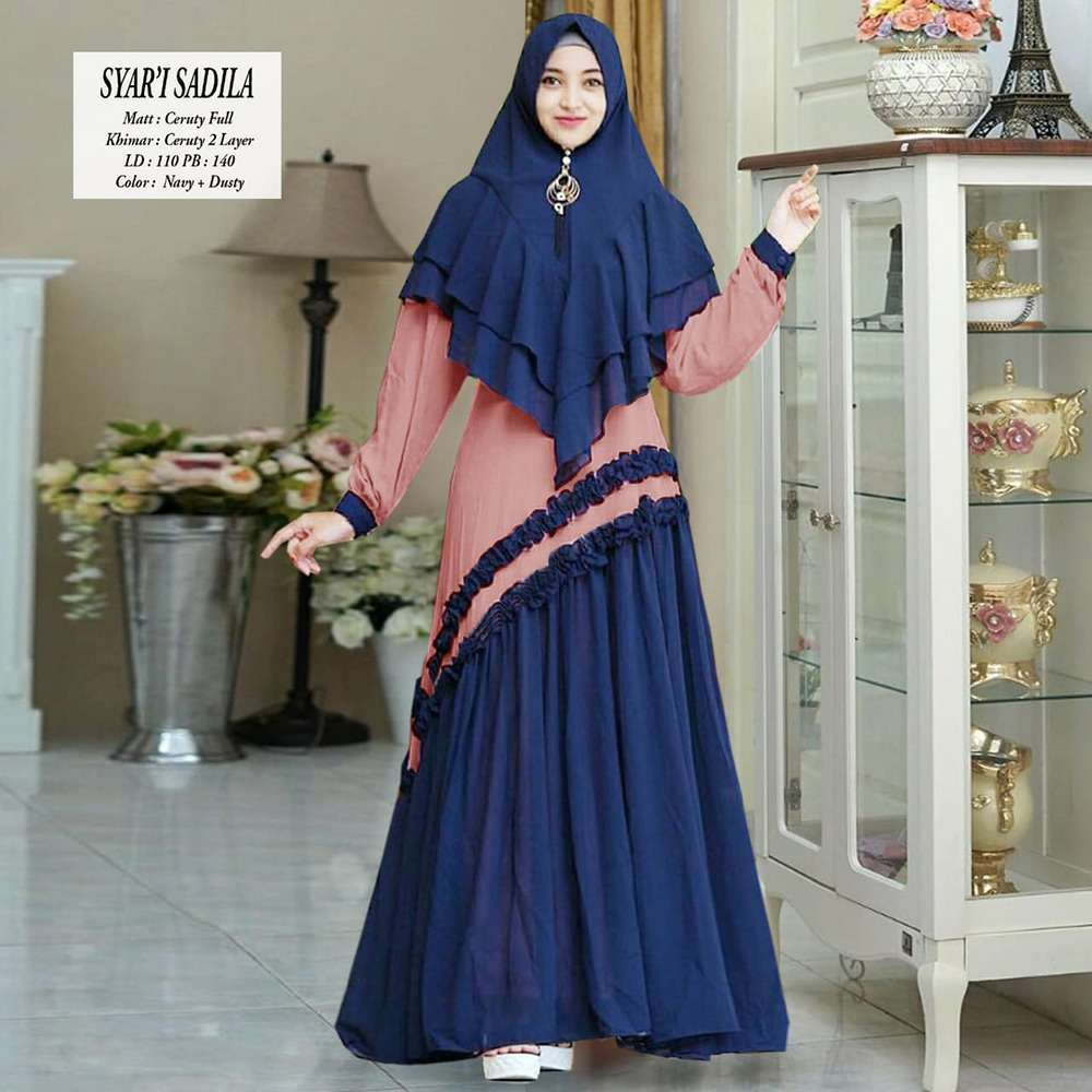 Gamis modern sadila new navy dusty
