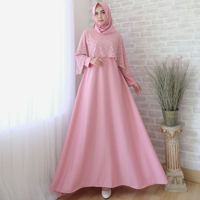 Gamis pesta olivia odf dusty pink