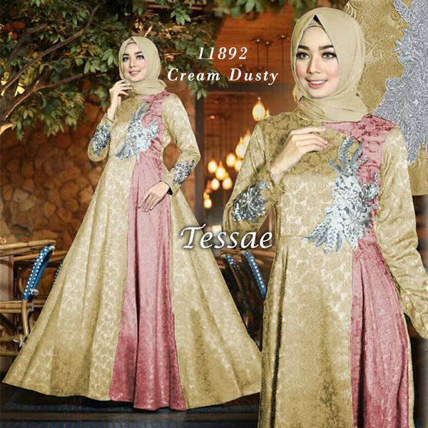 Model gamis pesta terbaru tessae cream dusty