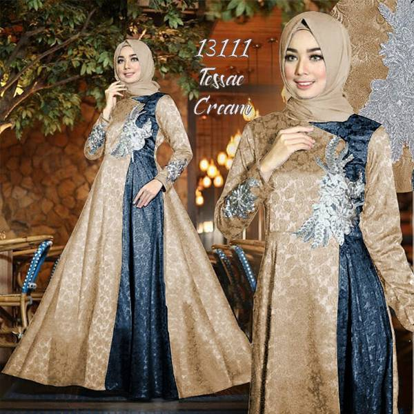 Model gamis pesta terbaru tessae cream navy