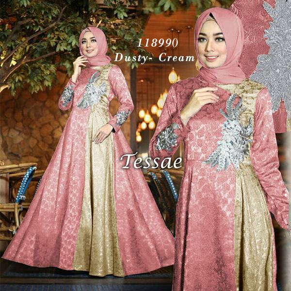 Model gamis pesta terbaru tessae dusty cream