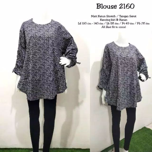 Blouse jumbo katun stretch 2160 navy