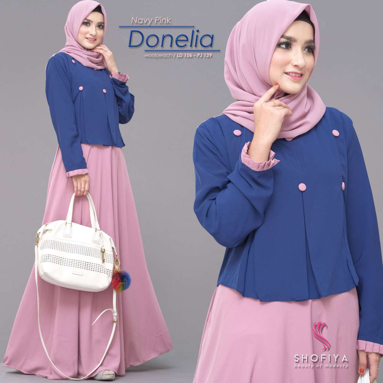 Gamis casual modis donelia navy pink