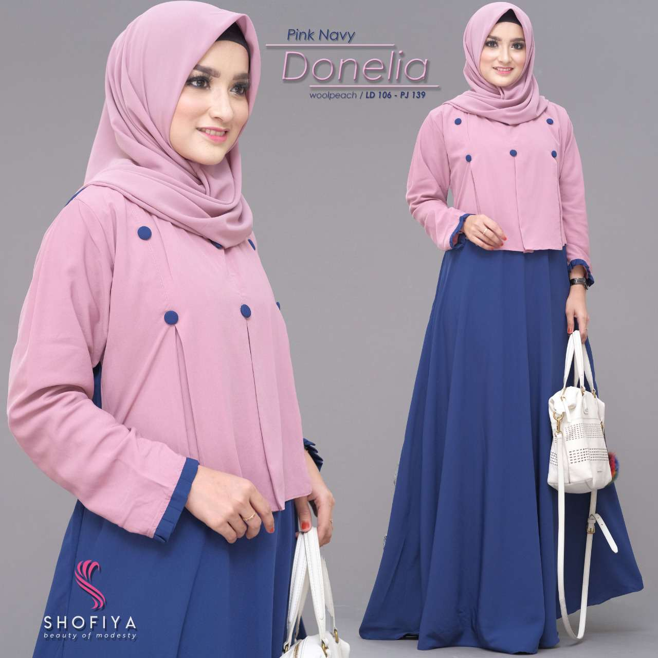 Gamis casual modis donelia pink navy