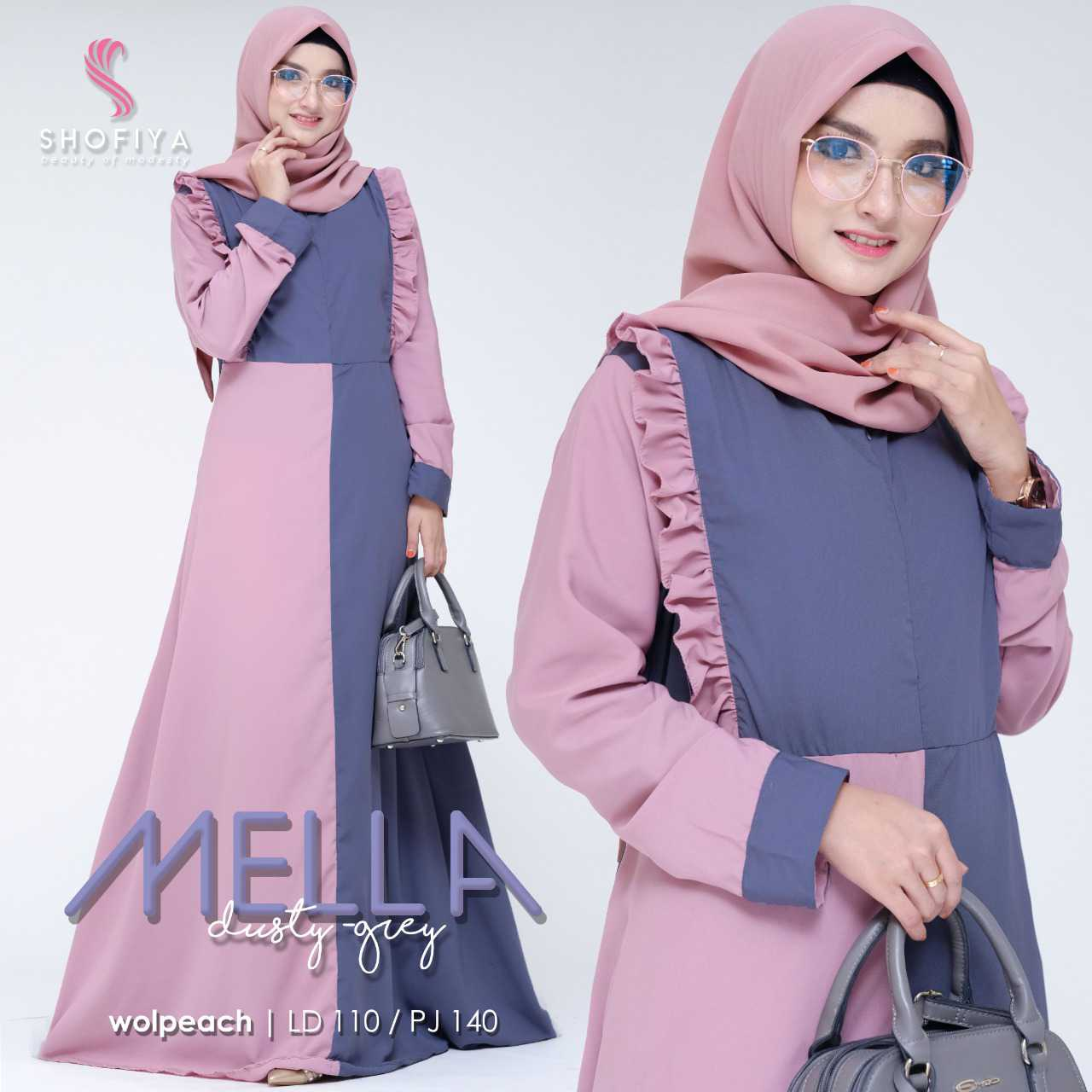 Gamis modern mella dusty grey