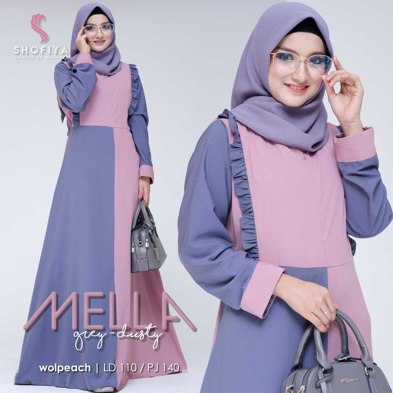 Gamis modern mella grey dusty