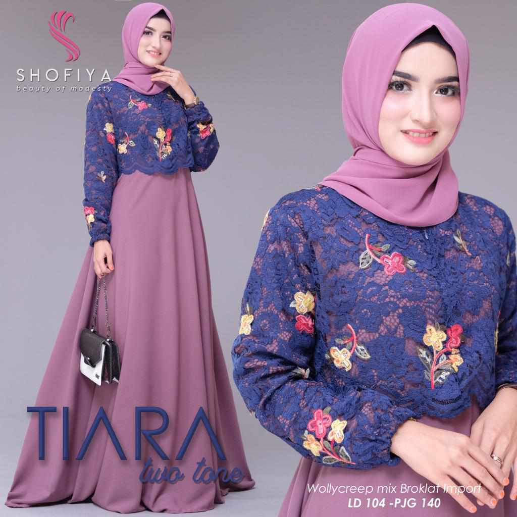 Model gamis pesta elegan tiara two tone purple