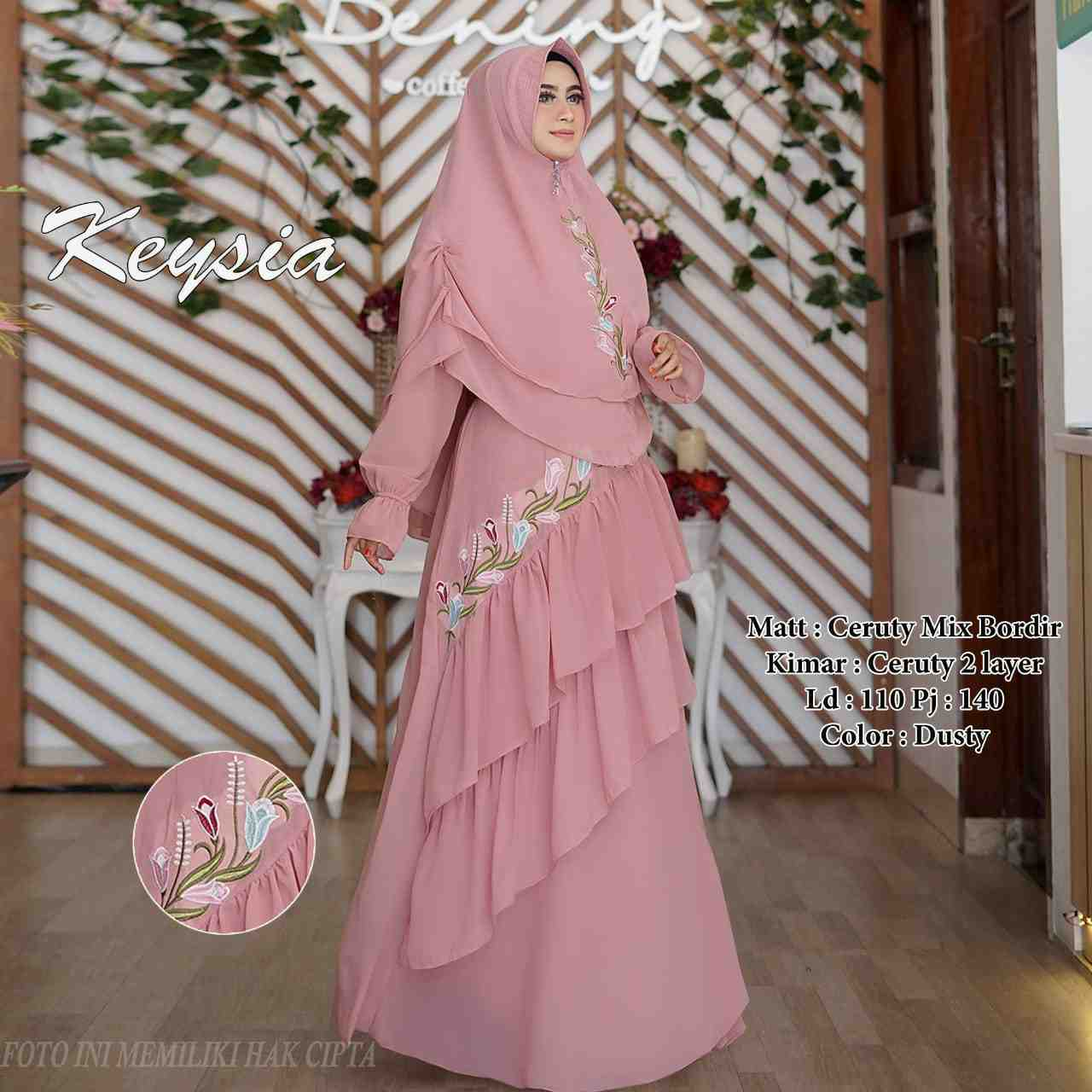 Model gamis sifon bordir cantik keysia dusty