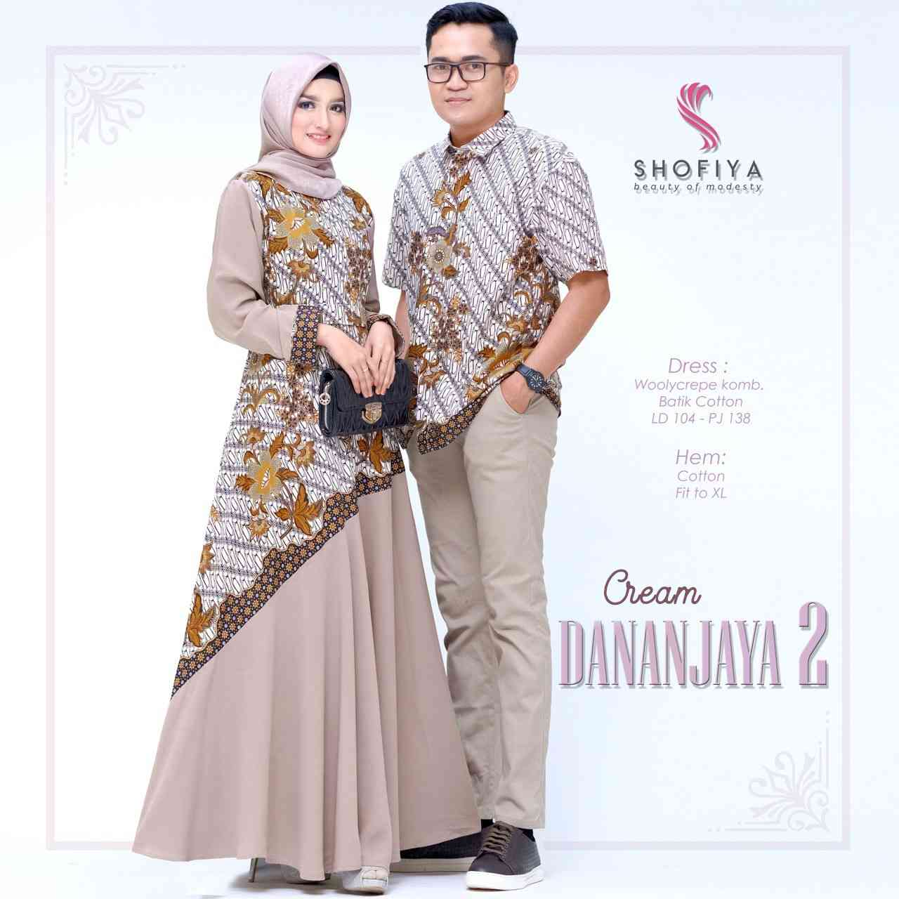 Baju couple batik danajaya 2 cream