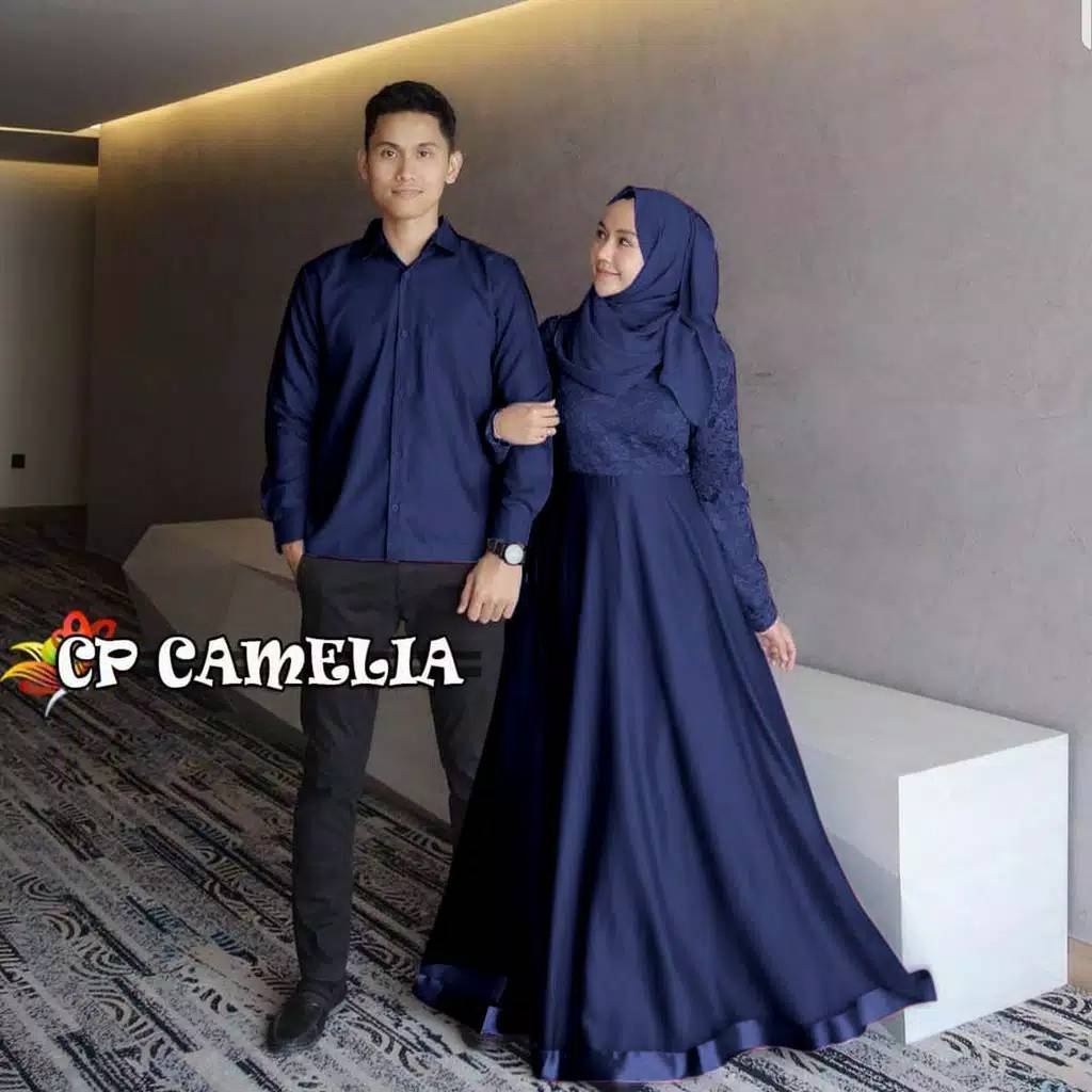 Couple brokat terbaru camelia navy
