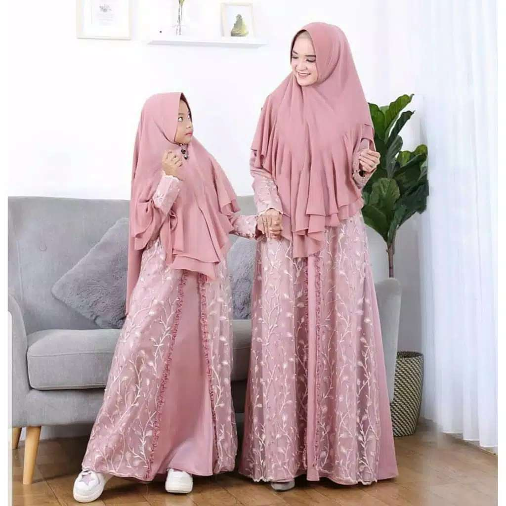 Couple gamis pesta syari selow dusty
