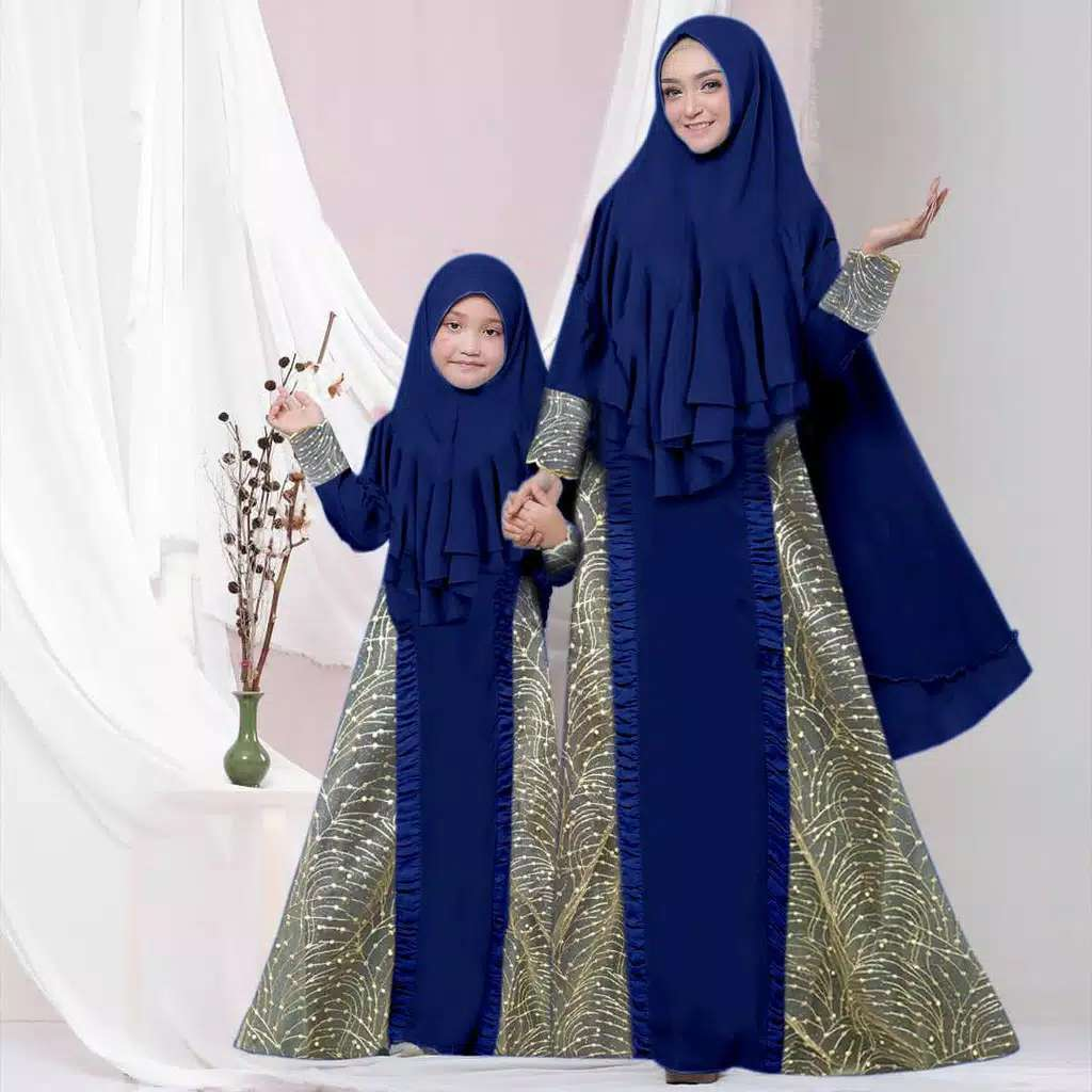 Couple gamis pesta syari selow navy