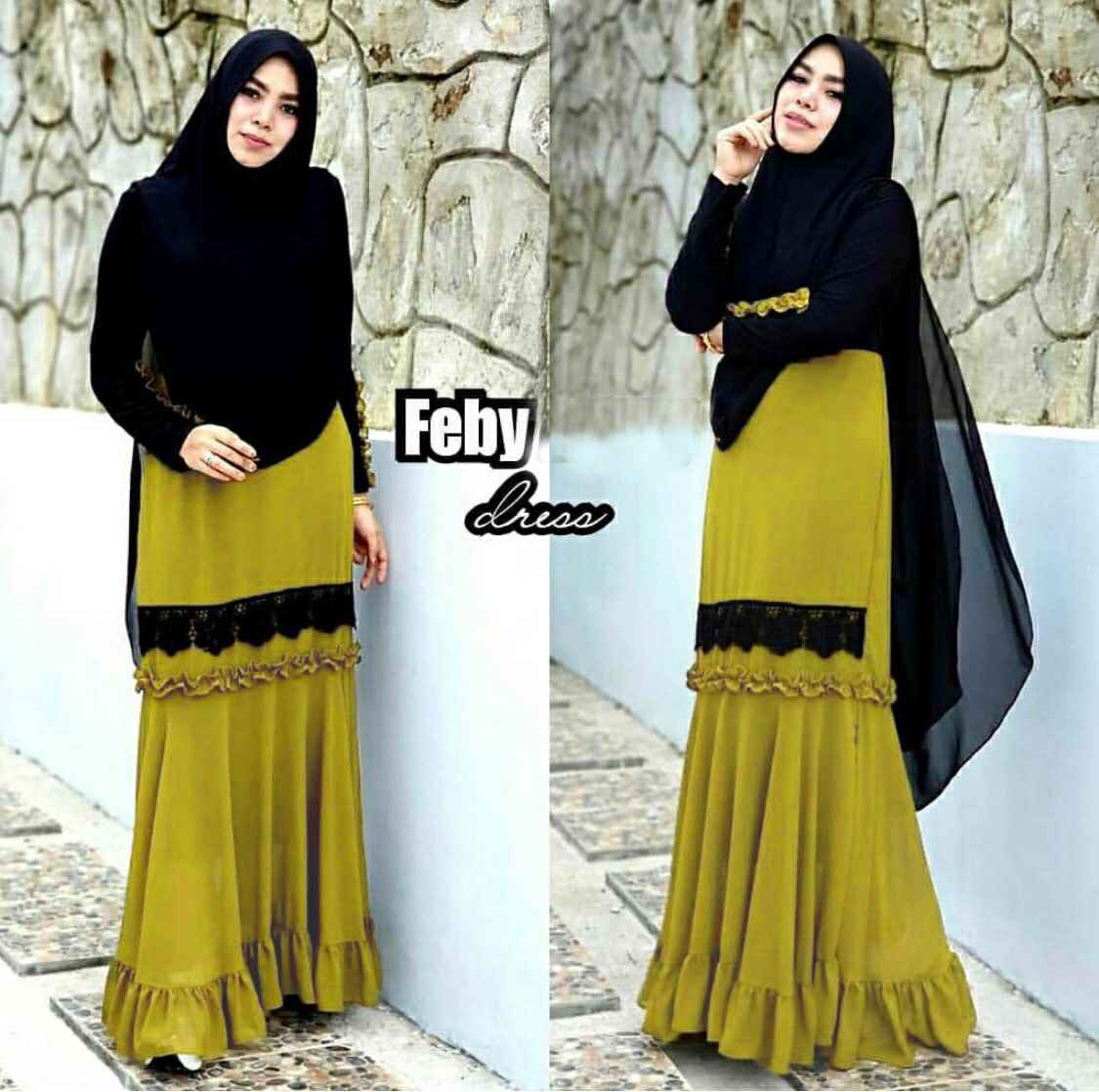 Gamis jersey cantik feby lime