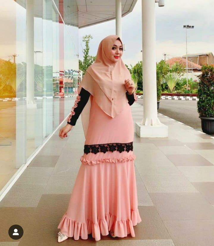 Gamis jersey cantik feby peach