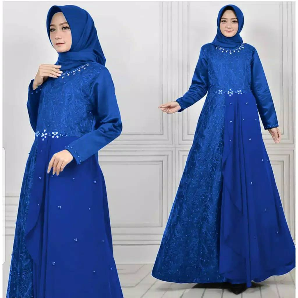 Gamis pesta brokat tile princes benhur