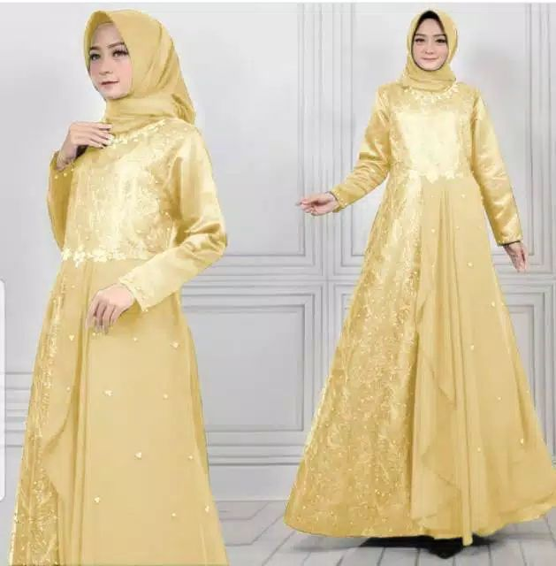 Gamis pesta brokat tile princes gold