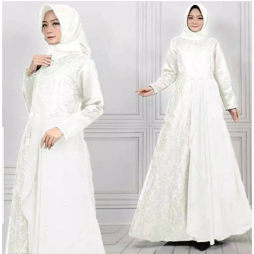Gamis pesta brokat tile princes putih