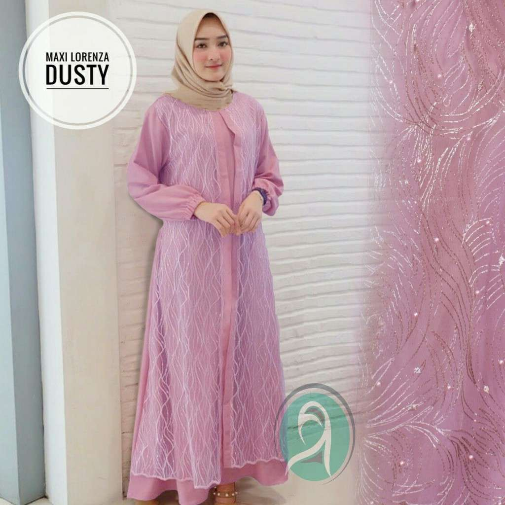 Gamis pesta simpel lorenza dusty
