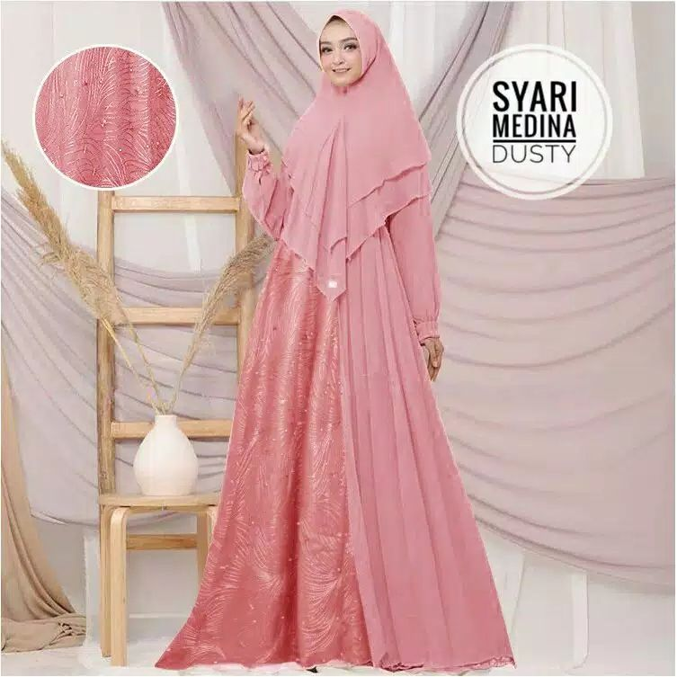 Gamis pesta simpel medina dusty
