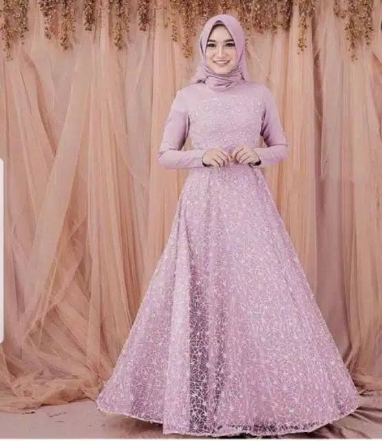 Gamis pesta tile terbaru beauty dusty
