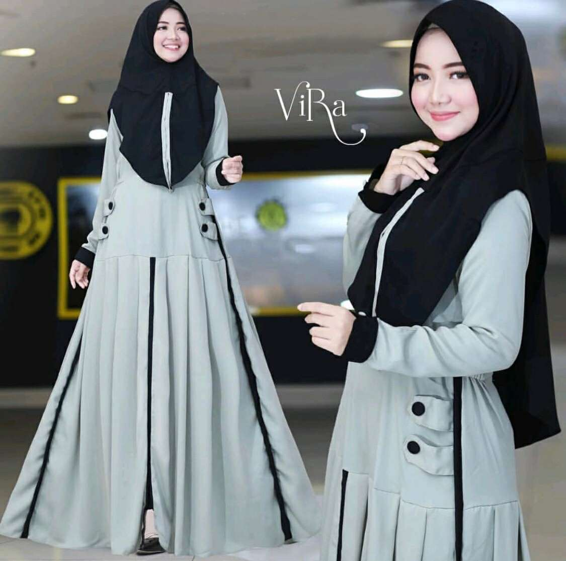 Gamis polos casual vira mint
