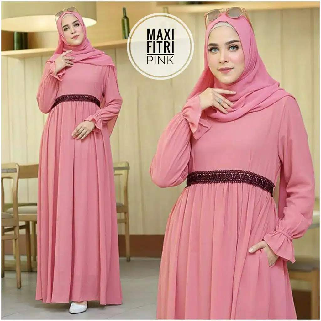 Gamis polos modern pink