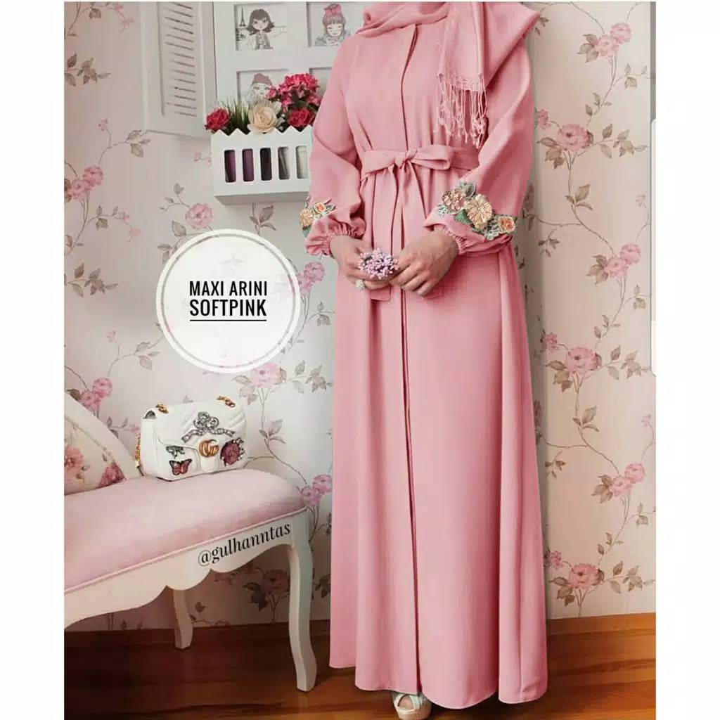 Gamis polos simpel arini softpink