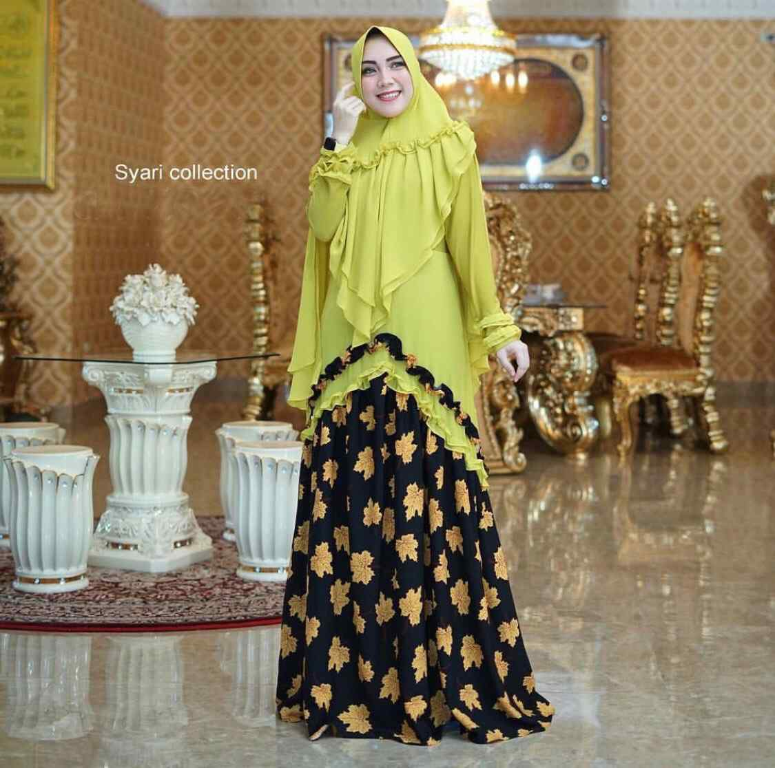 Gamis syari trendy romantic maple