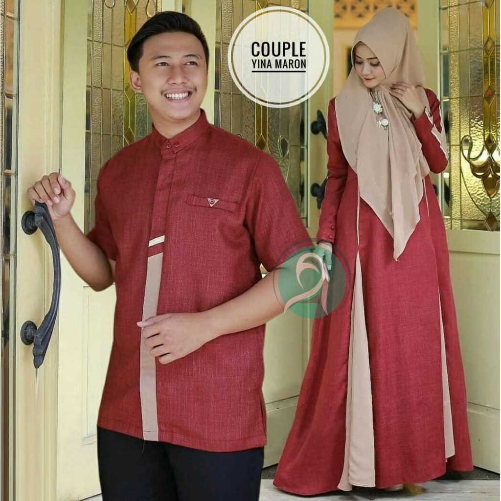 Model gamis couple modern yina maroon