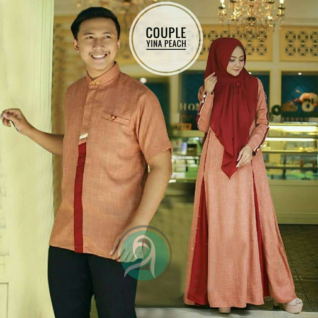Model gamis couple modern yina peach