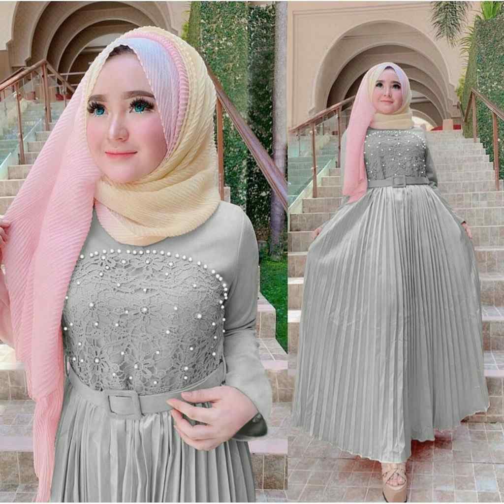 Model gamis pesta modern ayu abu