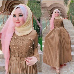 Model gamis pesta modern ayu moka