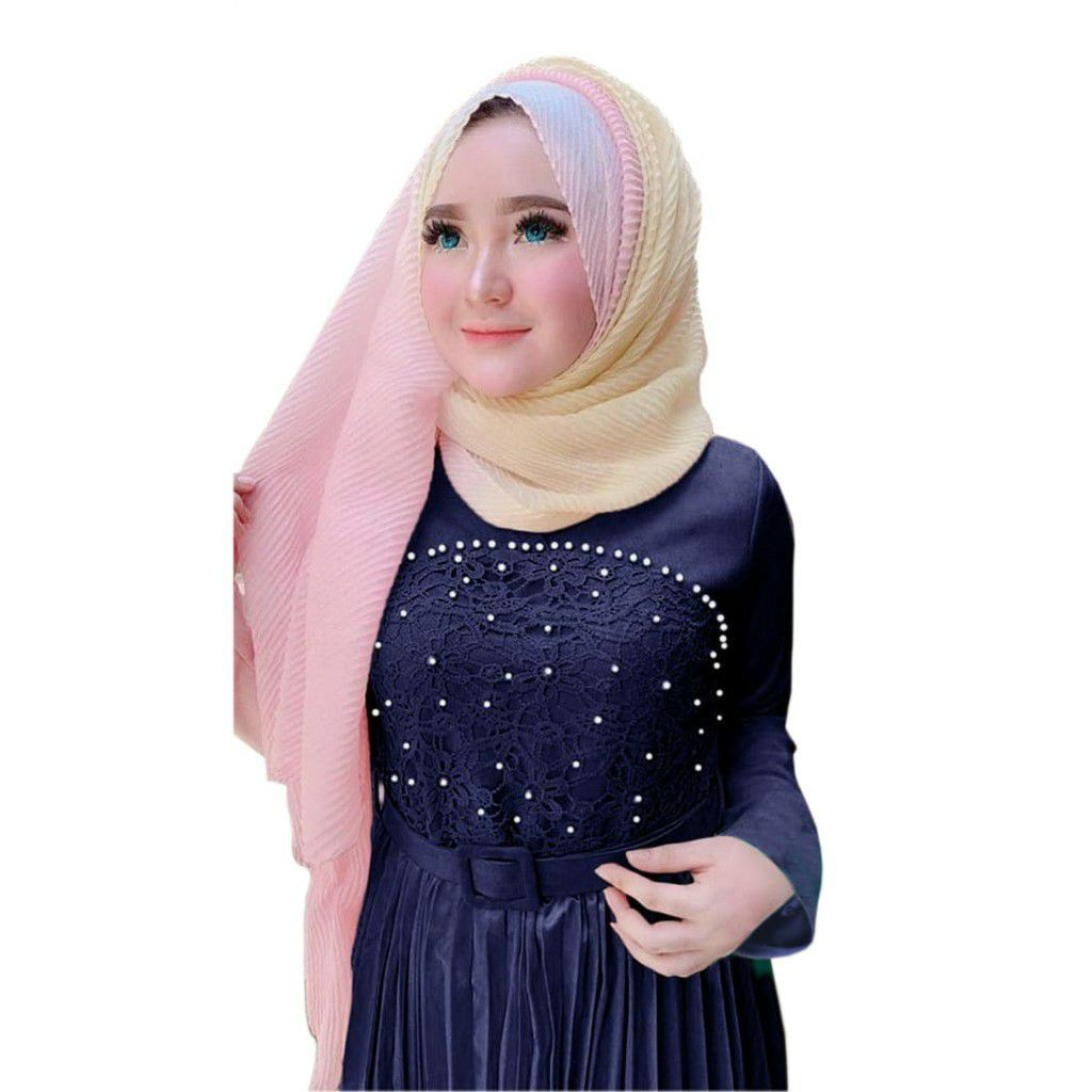 Model gamis pesta modern ayu navy