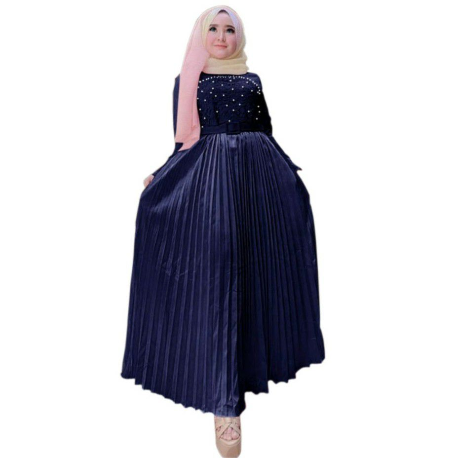 Model gamis pesta modern ayu navy1