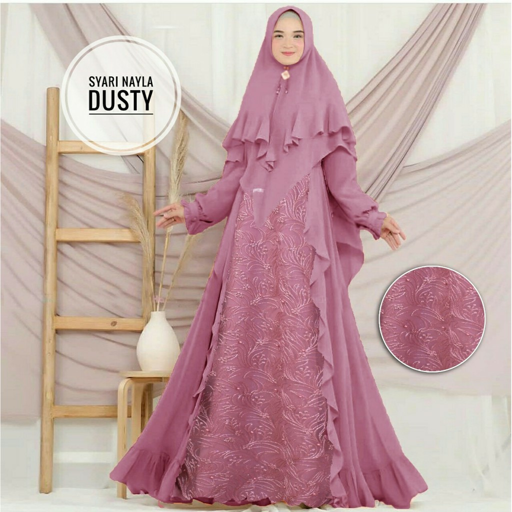 Model gamis tile kombinasi nayla dusty